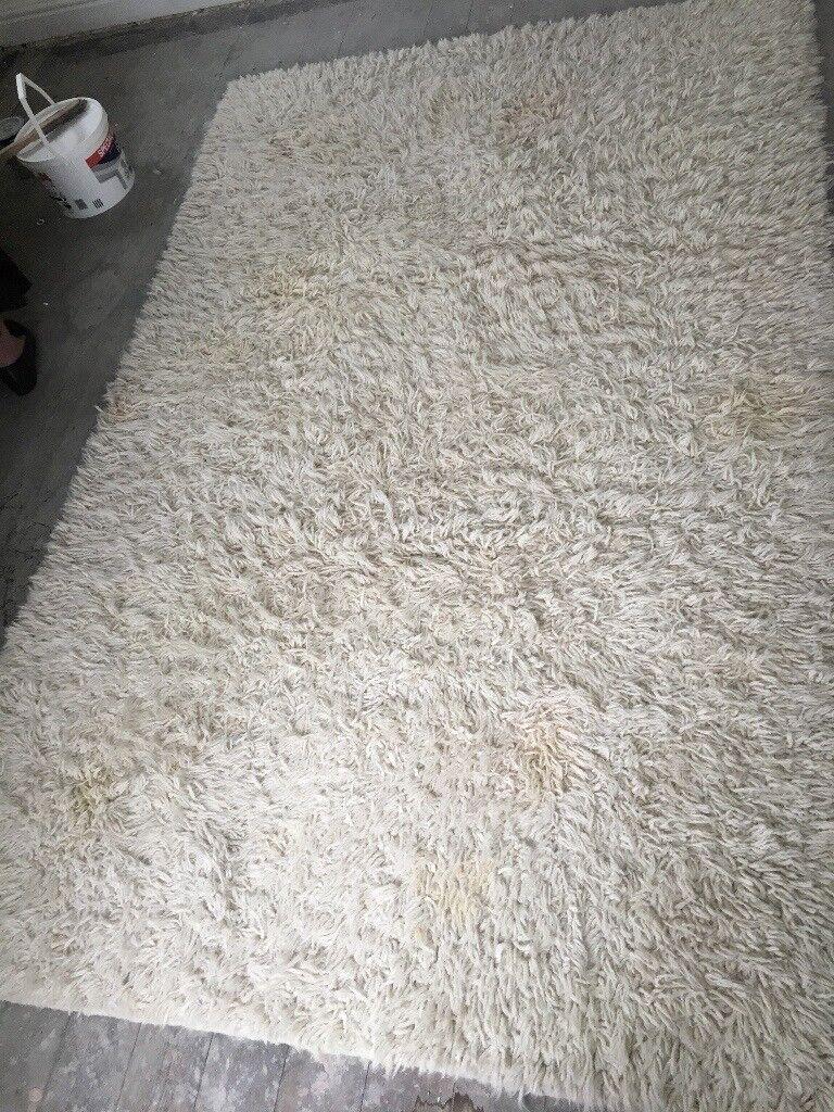 Extra large cream wool rug
