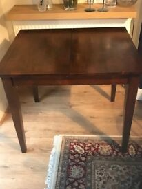 Solid Dark Hardwood Extending Dining Table & 4 Chairs