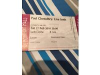 1 Ticket for Paul Chowdhry at De Montfort Hall Leicester Saturday 17th Feb