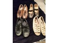 SIZE 5 SELECTION OF 4 PAIRS OF LADIES FLAT SHOES