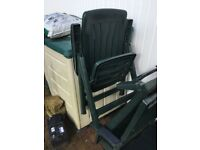 Two pieces of green garden furniture
