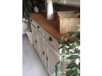 Superb antique oak top SOLID PINE THROUGHOUT Heavy large country sideboard