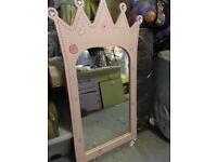 Little girls pink princess mirror