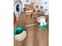 Highchair, baby boy clothes, nappies and bumbo