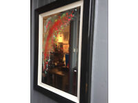 Modern Mirror , Black Frame with Abstract Design on Glass - Must Be Seen