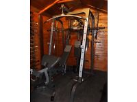 Olympic smith machine Bodymax with pec deck, pulley, incline decline bench