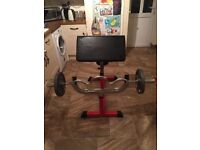 Preacher Curl bench with EZ bar and 50kgs of plates