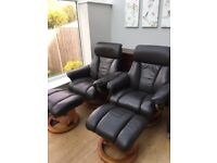 Dark Brown Arm Chairs and matching foot stools