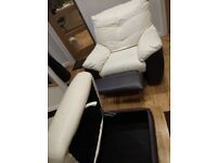 Dfs recliner sofa and footstool chair