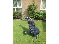 Golf bag,trolley and full set of clubs