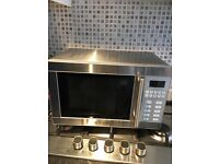 Stainless steal microwave oven silver