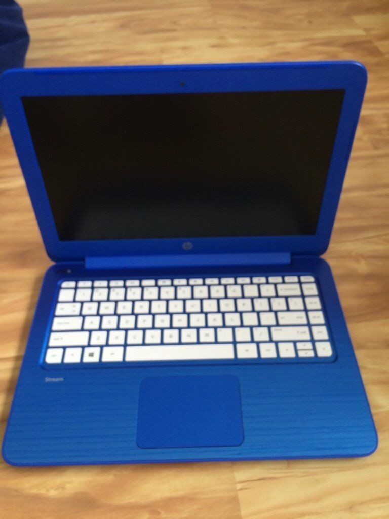 Blue Hp stream laptop, the screen on