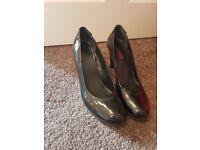 Black patent slip on shoes (size 7/40)