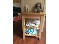Wooden Storage carts/trolleys (kitchen cart/baby changing table)
