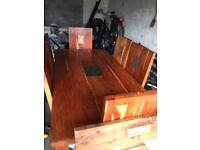 6 seater table and chairs with matching coffee table and mirror