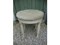 Small Dressing Table Stool,With, Pastel Green, Buttoned Upholstered Top.