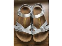 Girls Silver Birkenstock Sandals Size 2