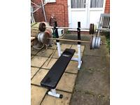 Bench with weights (about 70 kg)