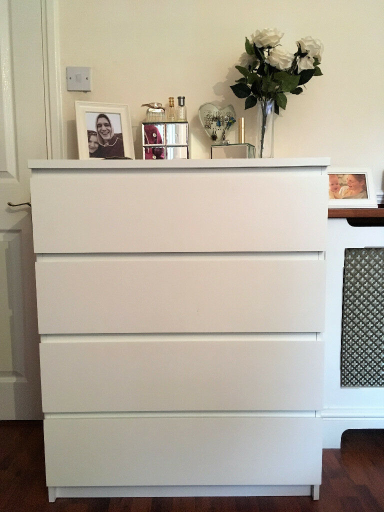 White 4 Drawer Ikea Malm Chest Of Drawers