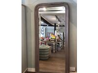 Large Full Length French Style Mirror - Taupe/Grey