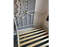Cream metal double bed frame