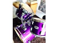 Pearl export drum kit with all hardware and cymbals with drum bags stunning purple
