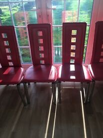 Red dinning table and chairs