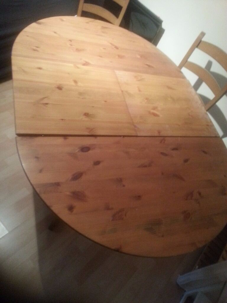 Wood extending dining table4 chairs to sale at discount pricein Surrey Quays, LondonGumtree - Wood extending dining table 4 chairs to sale at discount price , Table can be extend from round to Long table. Original price was £800 and now only sale at £280 , including 4 chairs in good condition ( no broken, functionally work), Urgent sale due...
