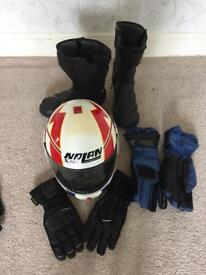 Motorcycle helmet/ gloves and boots