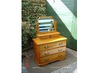 Pine Varnished Chest of Three Drawers with a Dressing Room Mirror with a Single Drawer. Can Deliver.