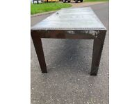 Handmade galvanised metal industrial dining table.