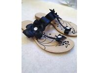 Size 4 Black Sandals with Flower detail and diamante feature - brand new