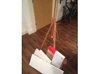 Windsor and Newton Art Easel and a few canvases