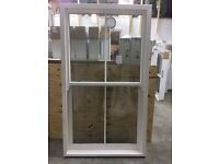 Timber sash window with double glazing and astragal bar detail, 1100w x 1950h