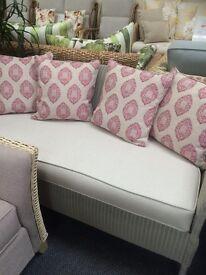 Lloyd Loom Dove Grey Sofa & Armchair