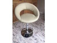 Pistachio leather upholstered bar stool