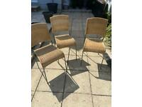 Rattan/ wicker garden or kitchen chairs x 3