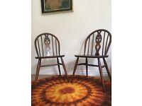Vintage Retro Pair of ERCOL 371 Fleur de Lys Dining Chairs