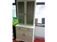 SHABBY CHIC GLASS FRONTED DRESSER.