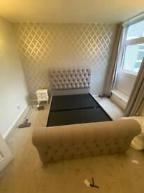 Standard double grey quilted and studded bed