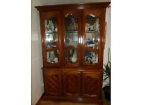REDUCED Cabinet Glass and wood upper section and solid sideboard 3 door lower. Contents not includ