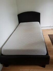 Bed frame with memory foam mattress