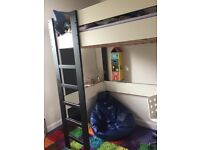 Single loft bed - Ikea Morrum - black and white with built in ladder