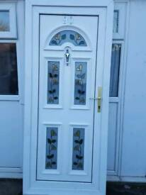 uPVC Door And Frame With Floral Glass Panels
