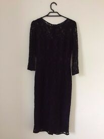 French Connection, long sleeved purple and black lace dress - never worn - size 6