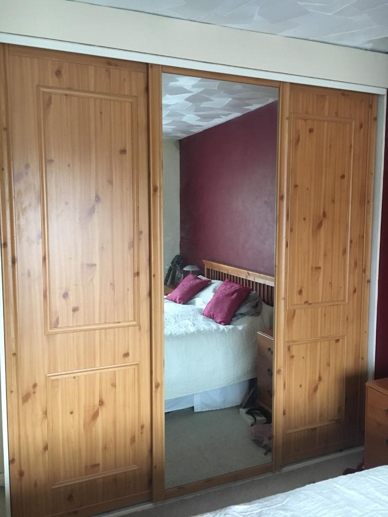 Fitted Wardrobe Pine Effect Sliding Doors In Caerphilly Gumtree