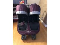 City Mini Jogger double pram with rain cover and cosy toes