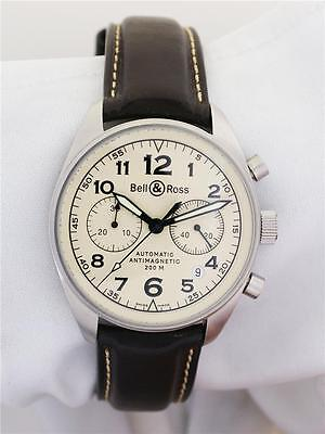 Bell & Ross 126.A Stainless Steel Mens 37-Jewel Automatic Chronograph Watch B&P