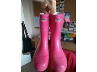 Women's pink wellington boots size 7