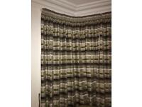 Pencil pleat fully lined thick curtains in green/brown